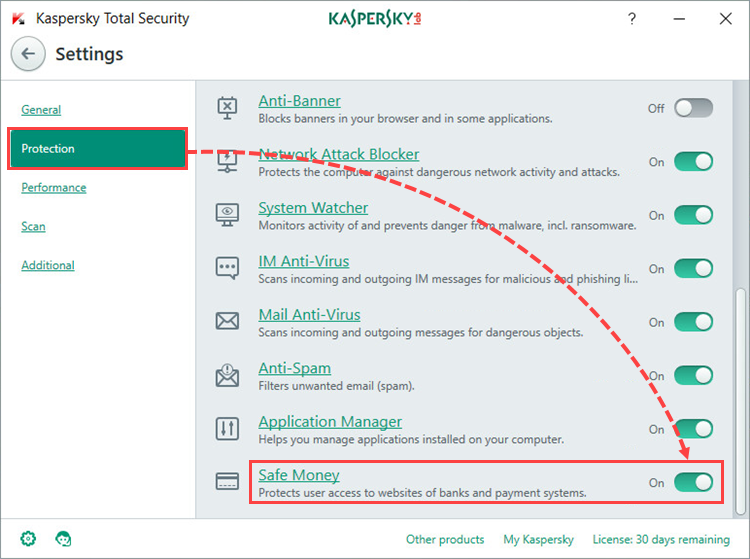 Image: the Settings window of Kaspersky Total Security 2018
