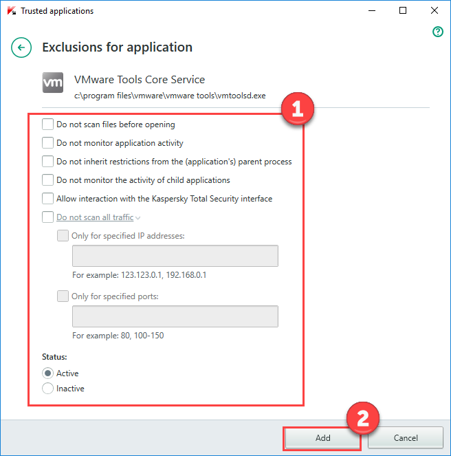 Image: Exclusions for applications window in Kaspersky Total Security 2018