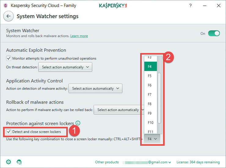 Image: the System Watcher settings window in Kaspersky Security Cloud
