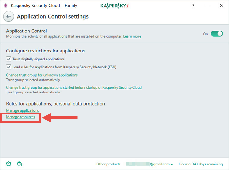 Image: the Application Control settings window in Kaspersky Security Cloud