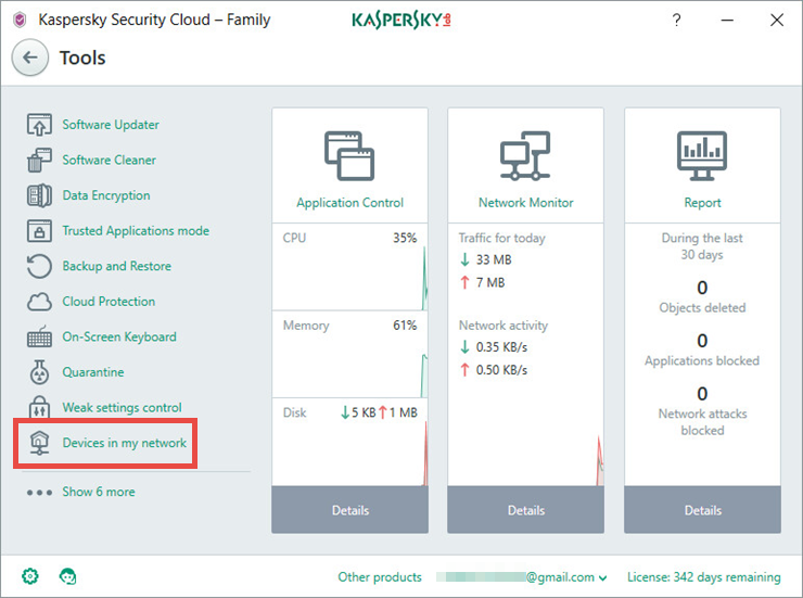 Image: the Tools window of Kaspersky Security Cloud