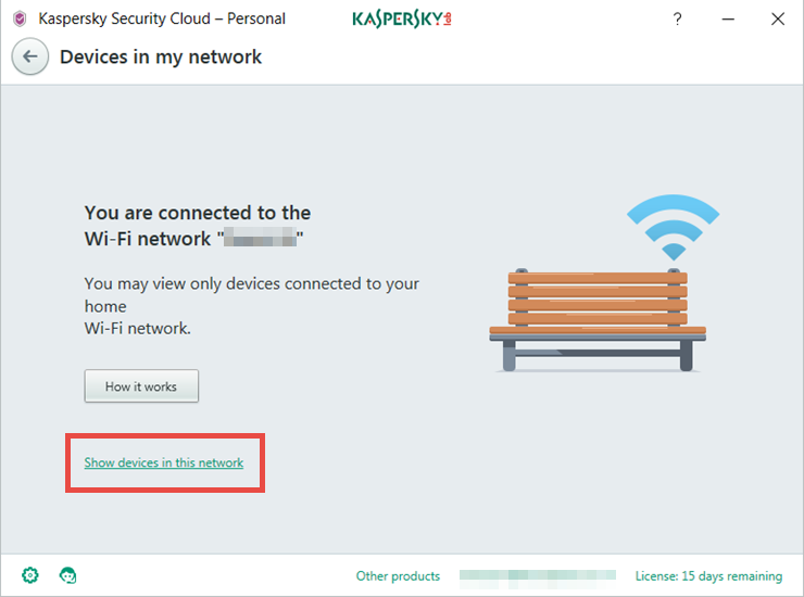Image: the Devices in my network window of Kaspersky Security Cloud