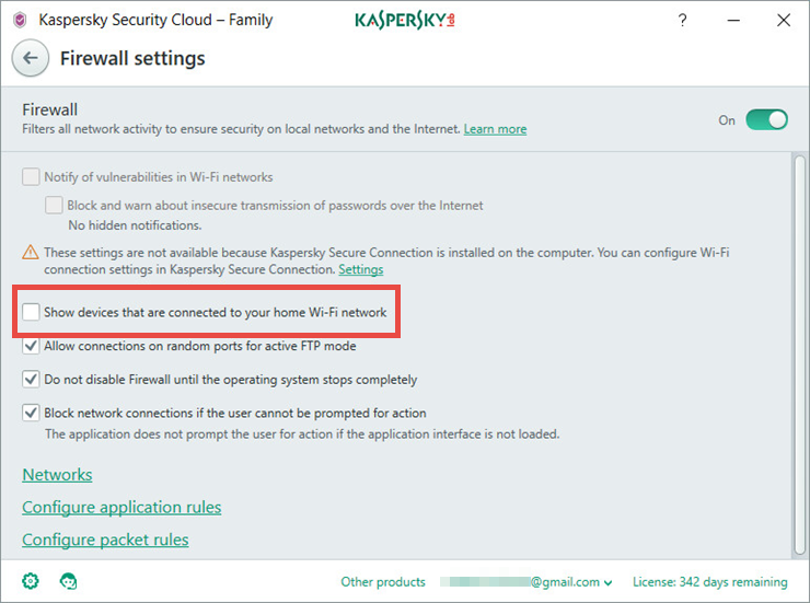 Image: the Firewall settings window in Kaspersky Security Cloud