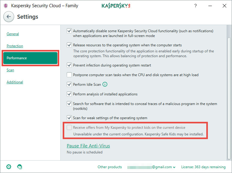 Image: the Settings window of Kaspersky Security Cloud
