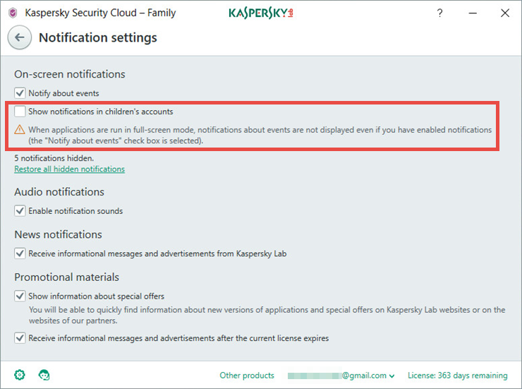 Image: the Notification settings window of Kaspersky Security Cloud