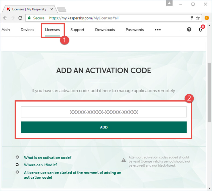 Image: how to add an activation code to My Kaspersky