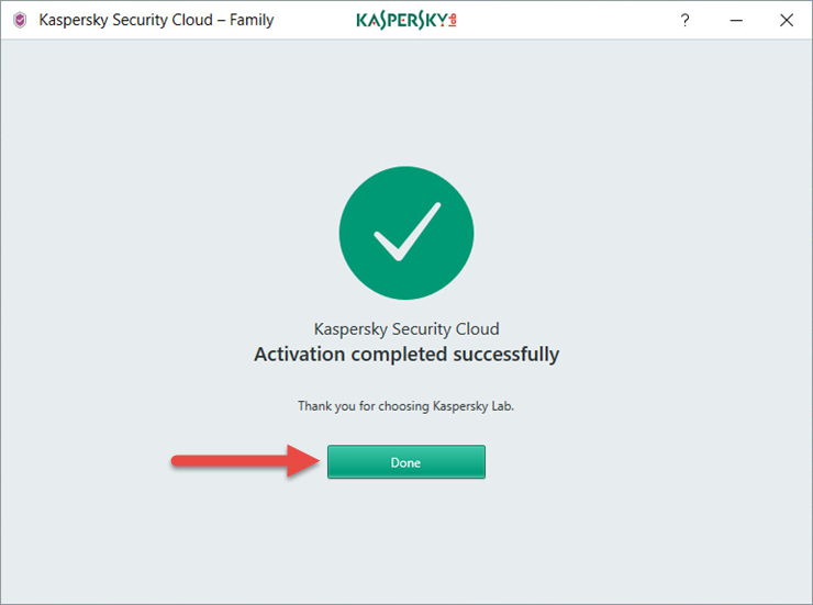 Image: the Kaspersky Security Cloud activation window