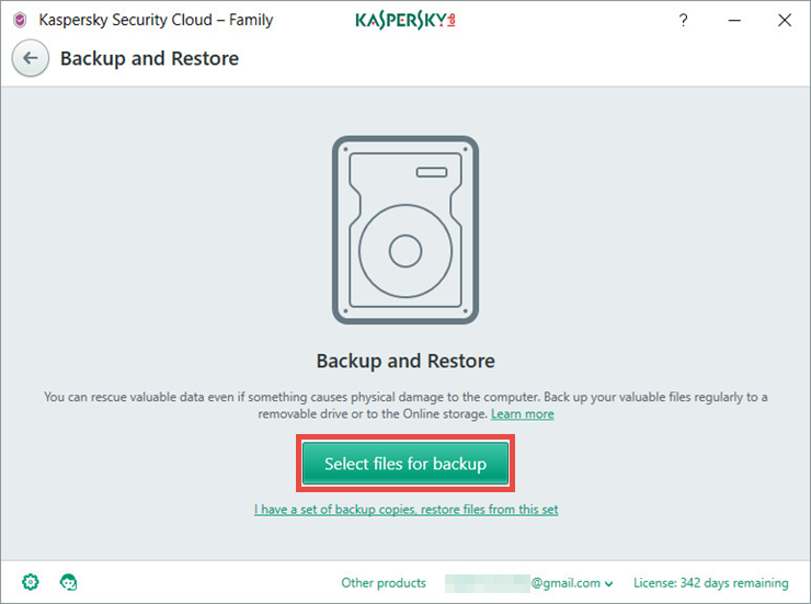 Image: the Backup and Restore window of Kaspersky Security Cloud