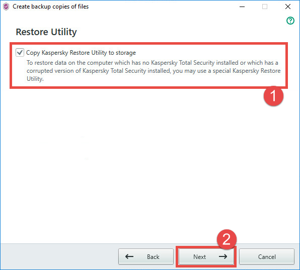 Image: copying the Restore Utility