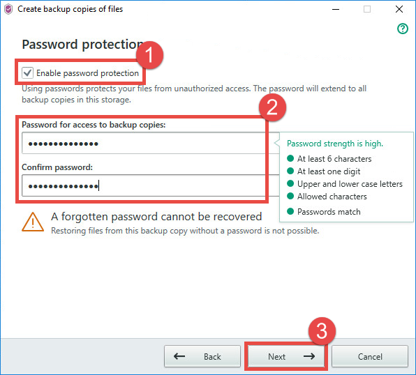 Image: setting a password for the backup storage