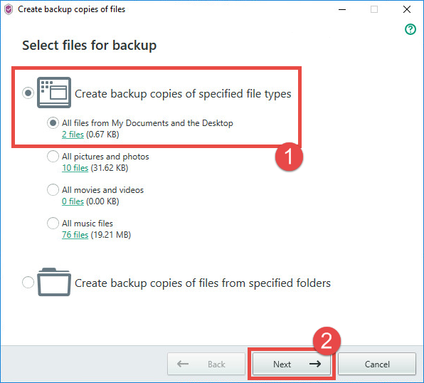 Image: selecting files for backup