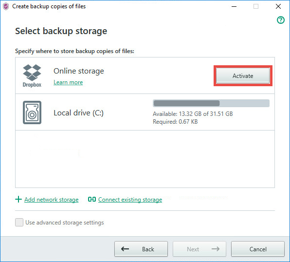 Image: selecting an online storage for backup