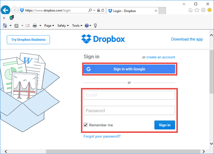 Image: signing in to Dropbox