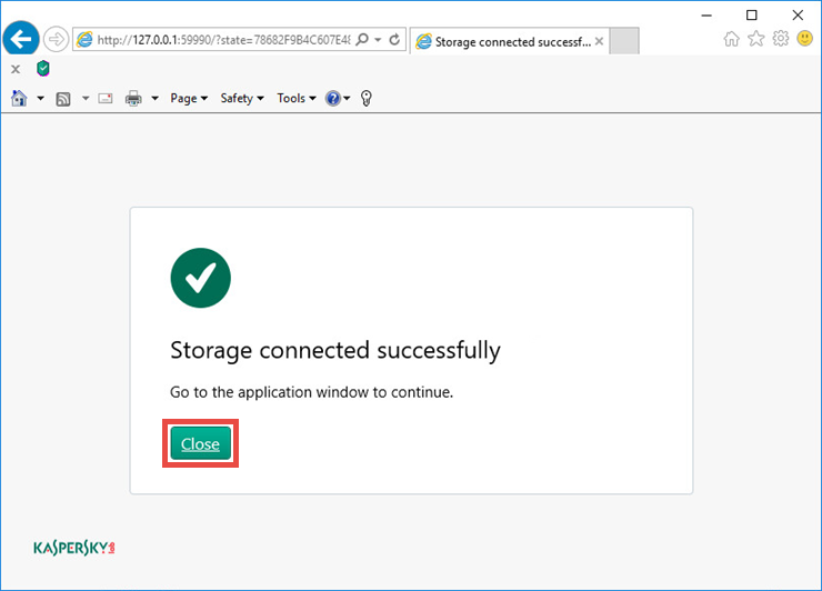 Image: the online storage is created and connected to Kaspersky Security Cloud
