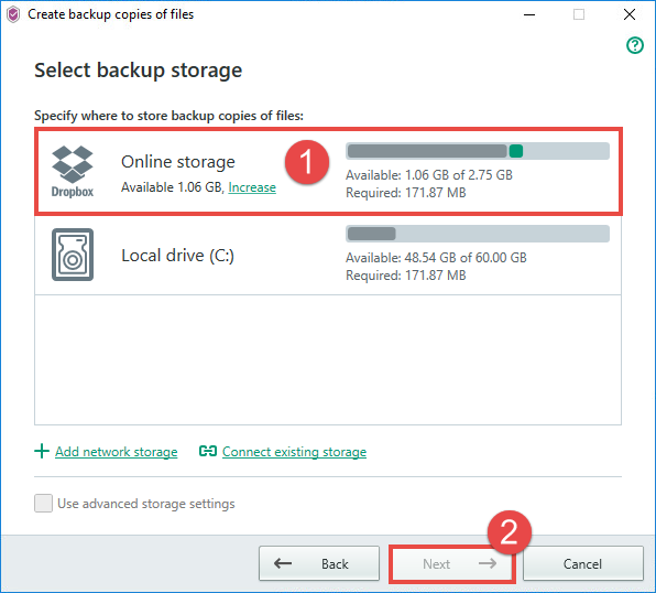 Image: selecting the activated online storage for backup