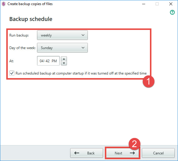 Image: setting a backup schedule in Kaspersky Security Cloud