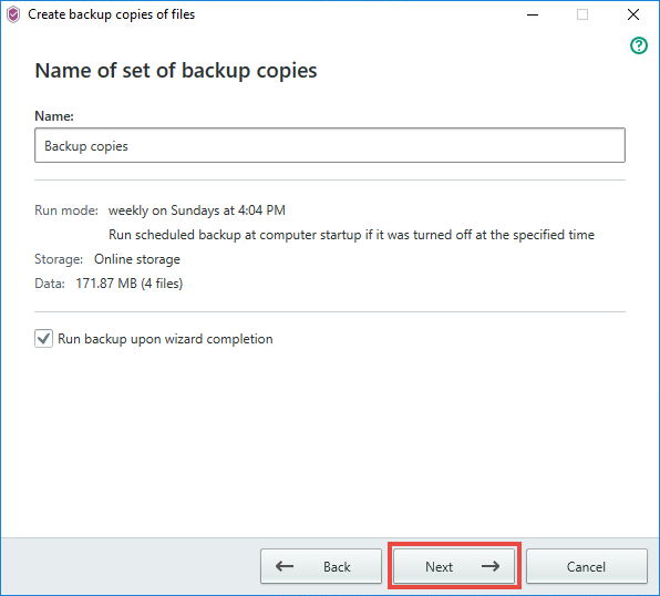 Image: setting a name for the backup storage