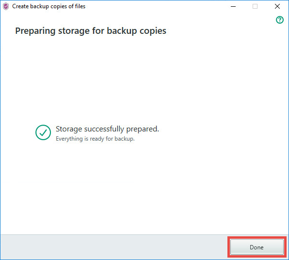 Image: the Kaspersky Security Cloud window with a created backup storage