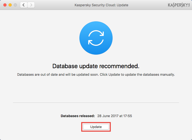 Image: the Update window of Kaspersky Security Cloud for Mac