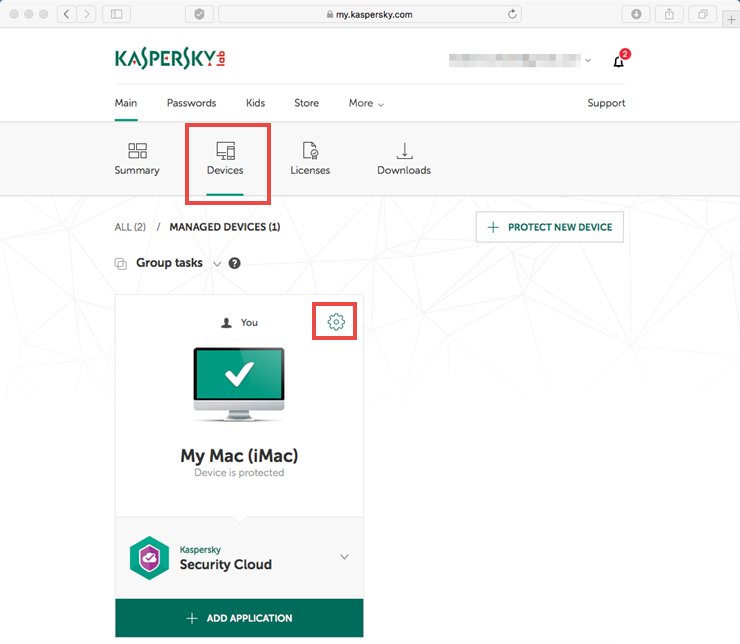 Image: the Devices tab of My Kaspersky