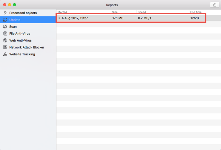 Image: the Reports window of Kaspersky Security Cloud for Mac