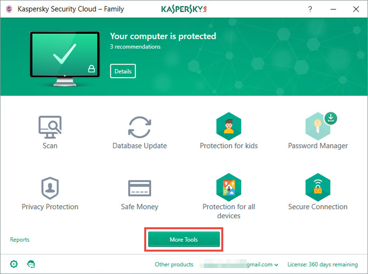 Image: Kaspersky Security Cloud main window