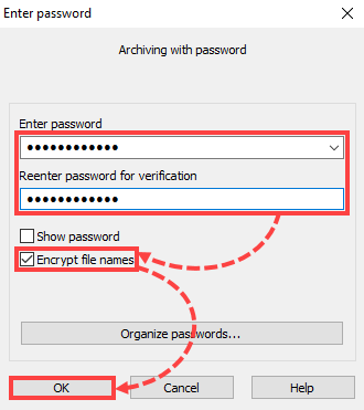 Setting up password and encryption for the archive