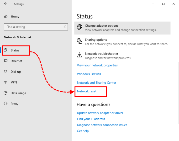 Going to resetting networks in Windows 10