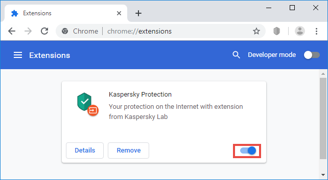 Adding the Kaspersky Protection extension to Google Chrome