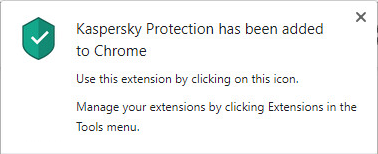Successful installation of Kaspersky Protection