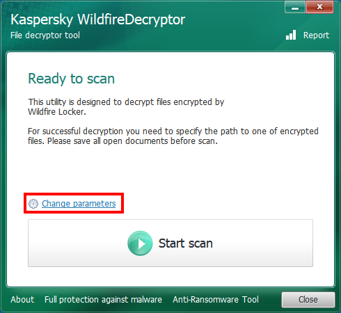 Opening the scan settings of WildfireDecryptor