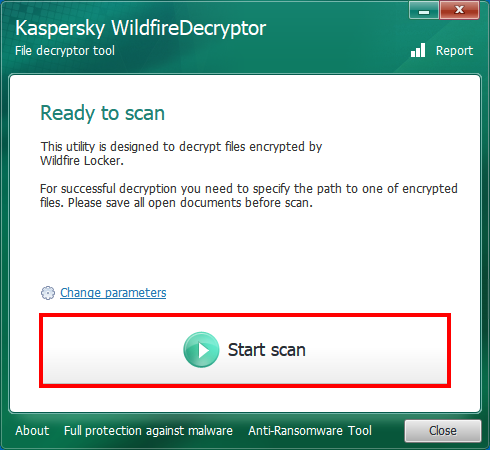 Running a scan in WildfireDecryptor