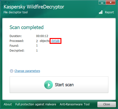 Opening scan details in WildfireDecryptor
