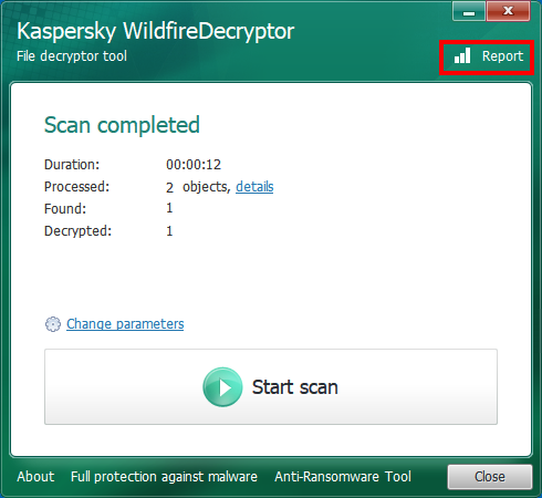 Opening a scan history in WildfireDecryptor