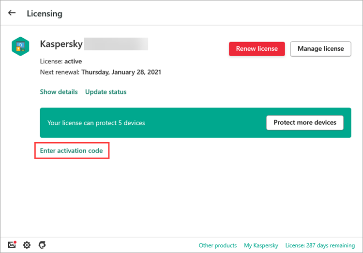The Licensing window in a Kaspersky Lab application
