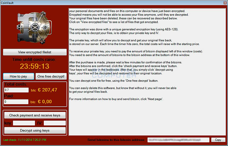 Window with Trojan-Ransom.MSIL.CoinVault ransomware