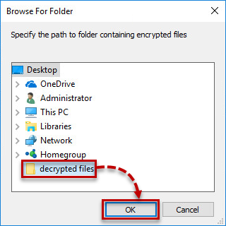Specifying the path to the folder with encrypted files