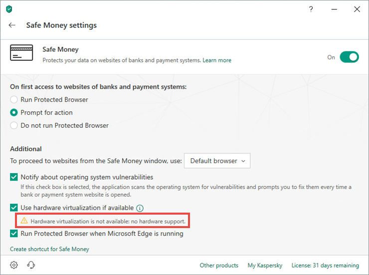 The hardware virtualization status in the Kaspersky application version 19
