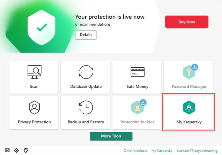 Image: the main window of a Kaspersky Lab product