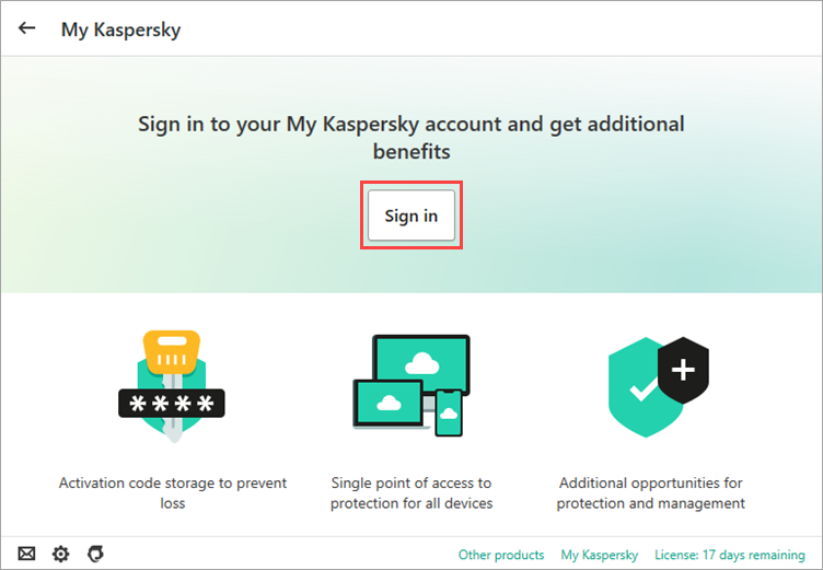 Image: connecting the application to My Kaspersky