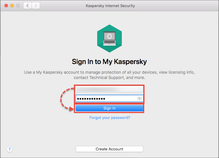 Image: signing in to My Kaspersky via Kaspersky Internet Security for Mac