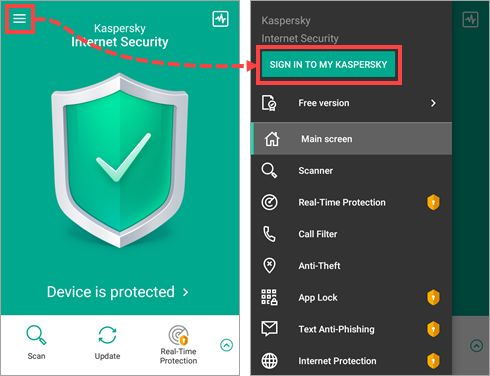 Image: Kaspersky Internet Security for Android notifications window
