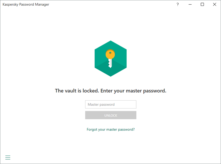 The master password window in Kaspersky Password Manager