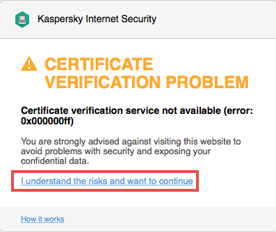A warning about the certificate problem