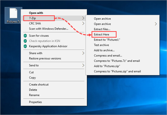 How to extract files from an archive in Windows