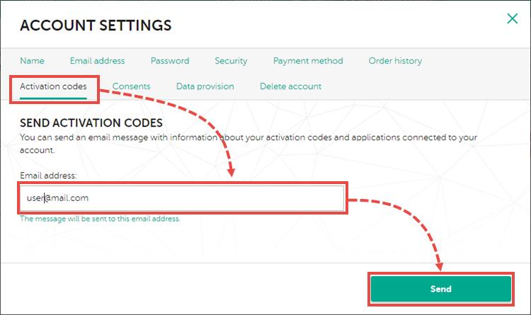 Sending the code from My Kaspersky to the email