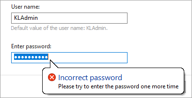 Entering the password for a Kaspersky application