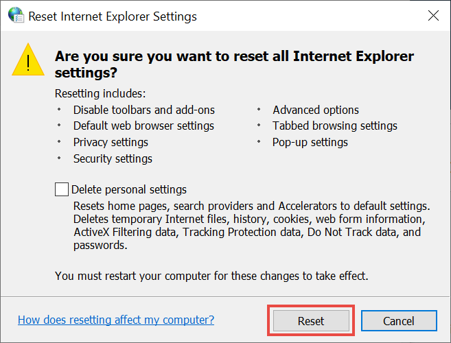 Resetting Internet Explorer settings