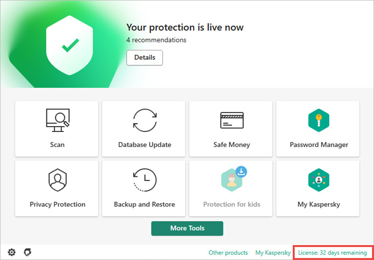 Opening the Licensing window in a Kaspersky application