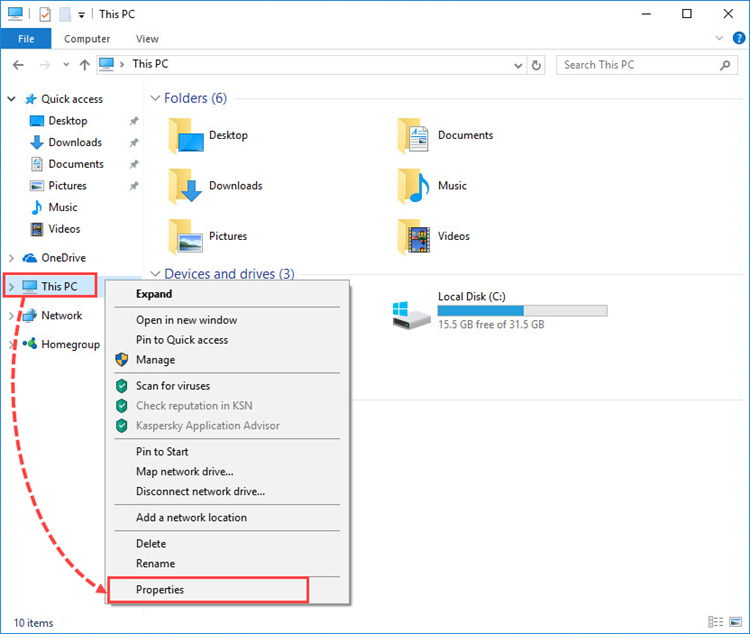 Opening system properties in Windows 10